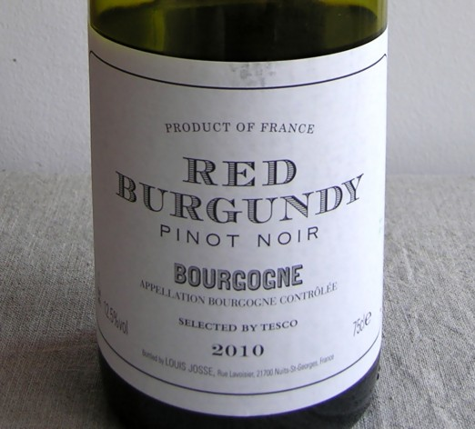 Red Burgundy Pinot Noir Selected by Tesco 2010