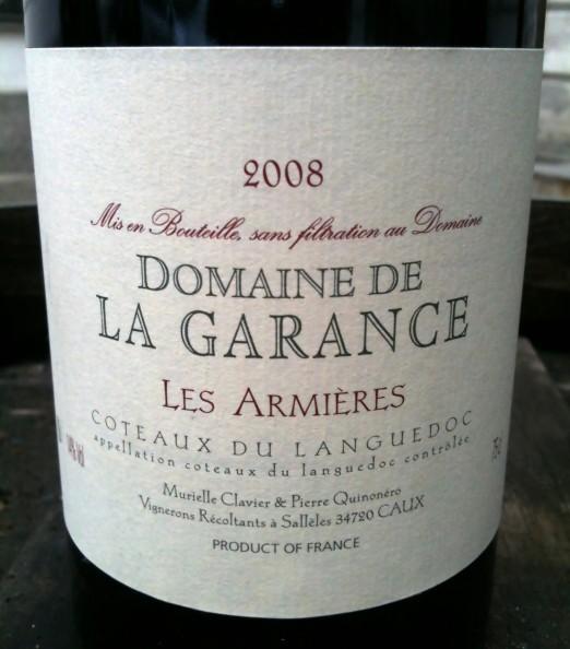 Domaine La Garance Coteaux du Languedoc Les Armieres 2008