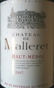 Château de Malleret Haut-Médoc 2007