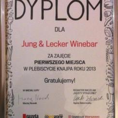 Dyplom dla Knajpy Roku. Jung & Lecker/ Facebook.com