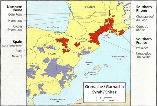 Miejsca upraw grenache i jej ulubionego kompana - syrah © thewinewisecompany.com