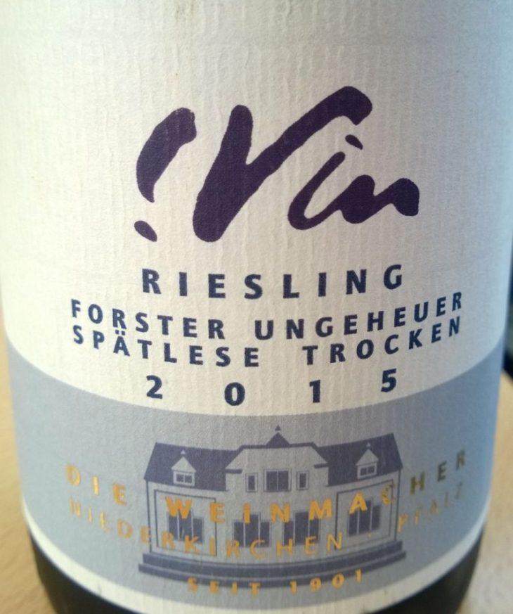 Die Weinmacher !Vin Riesling forster ungeheuer Spatlese trocken 2015