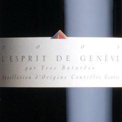 Wszystkie wina Esprit de Genève mają tę samą etykietę.